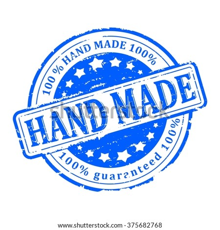 Scratched blue round stamp with the inscription - hand made - vector