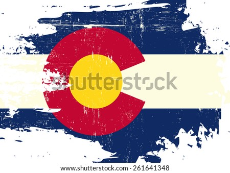 Scratched Colorado Flag. A flag of Colorado with a grunge texture - stock vector