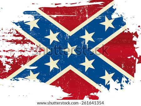 Scratched Confederate Flag. A Civil War flag with a grunge texture - stock vector