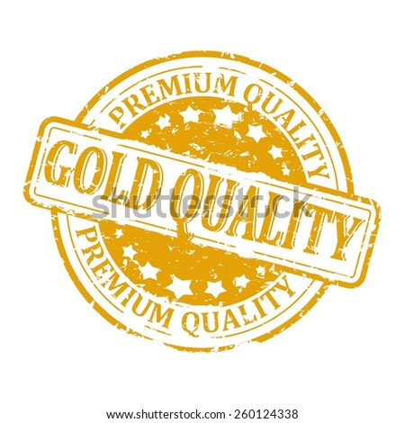 Scratched gold round seal with the inscription - Gold Quality - premium - vector - stock vector