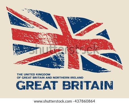 Scratched Great Britain flag. Vector grunge illustration - stock vector