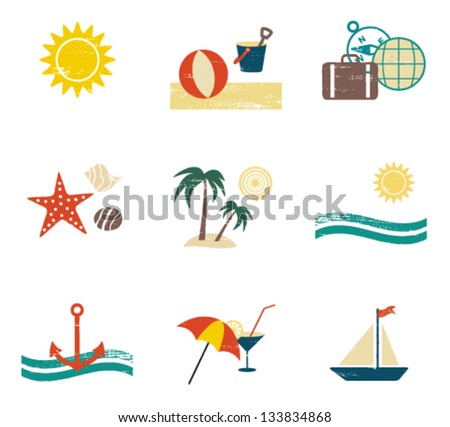 Scratched summer and sea related icons 2