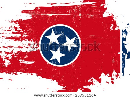 Scratched Tennessee Flag. A flag of Tennessee with a grunge texture - stock vector