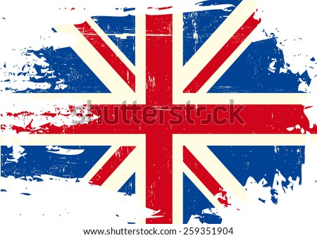 Scratched UK Flag. An english flag with a grunge texture - stock vector