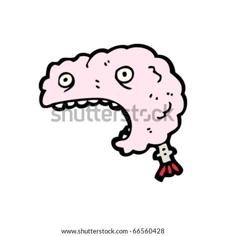 screaming brain cartoon - stock vector