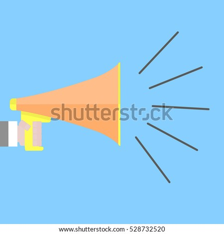 Screaming megaphone shout. Speaker announcement use megafone, shout and communication, vector illustration