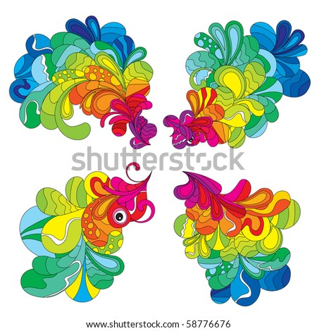 Screaming multicolored hand drawn elements, created to attract attention to your design. - stock vector