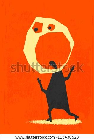 Screaming. Retro poster - stock vector