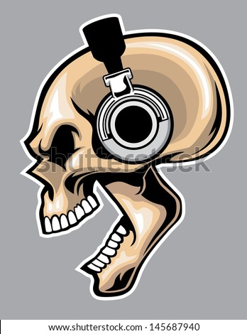 screaming skull wearing headphone - stock vector