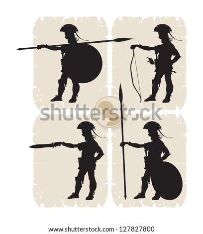 Screaming soldier. Silhouettes warriors, 7, vector
