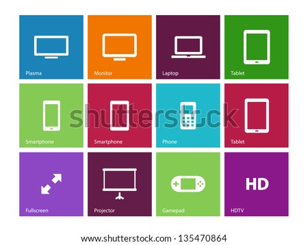 Screen devices icons on color background. Vector illustration. - stock vector