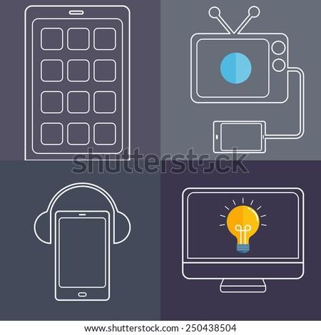 Screen life line art - stock vector