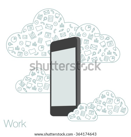 Screen mobile phone with flat icons on the background. Cloud technologies and services in the smartphone. Presentation apps for startup. Illustration of cloud software in the mobile.