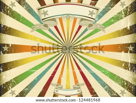 Screen multicolor vintage. A vintage horizontal poster with a blue sunbeam for you. Perfect size for a screen. - stock vector