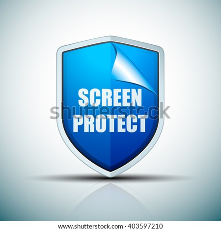 Screen Protect Glass shield - stock vector