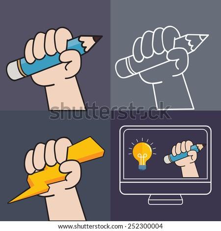 Screen sketching - stock vector