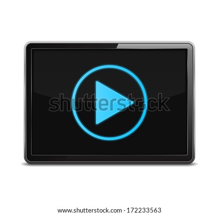 Screen with play button, vector eps10 illustration