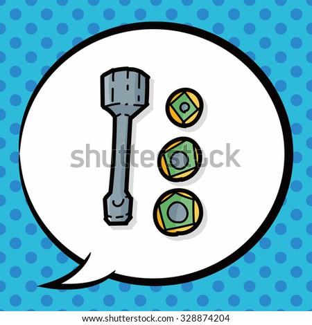 screw color doodle, speech bubble - stock vector