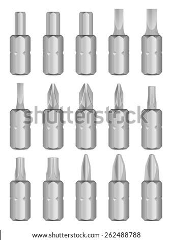 Screw driver bit set on white background. - stock vector