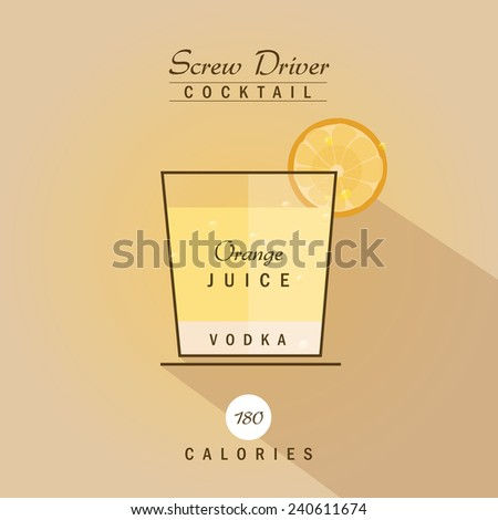 screw driver cocktail drink recipe vector illustration in trendy hipster retro flat design style - stock vector