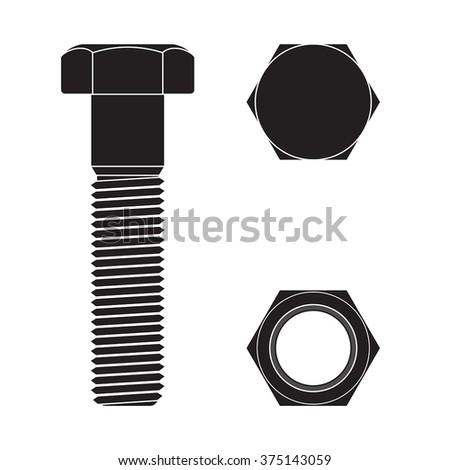 screw head nut bolt vector illustration stock vector