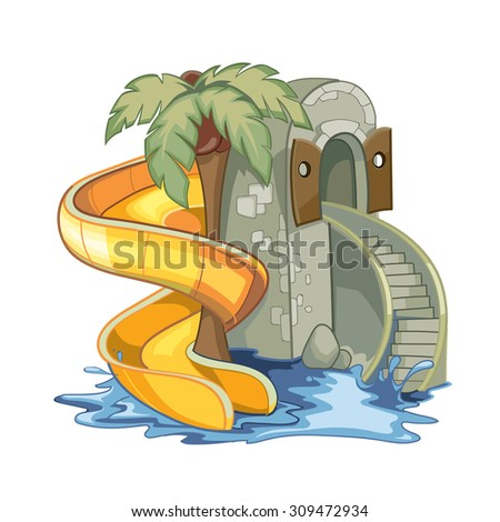 screw yellow Water hill in an aquapark. Vector illustration