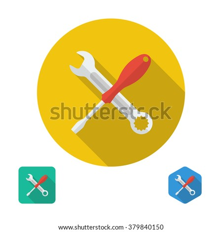 Screwdriver and wrench icon. can be used logo for service, icon for setting. Elements of design for web and mobile app. Vector. Three types of flat icons with long shadow: circle, square, hexagon - stock vector