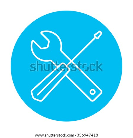 Screwdriver and wrench tools line icon for web, mobile and infographics. Vector white icon on the light blue circle isolated on white background. - stock vector