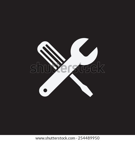 Screwdriver and Wrench. Tools vector icon. Settings icon. - stock vector