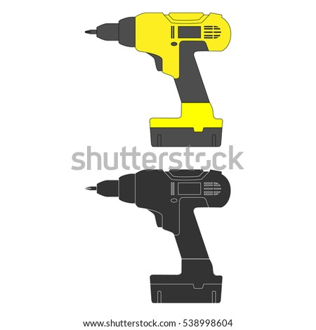 screwdriver, electric tool, isolated, vector image. illustration