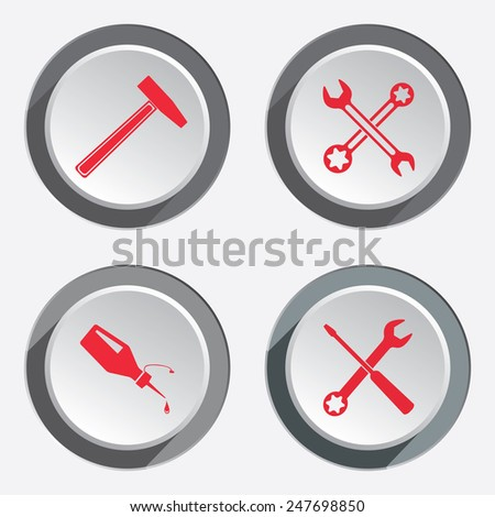 Screwdriver, hammer, wrench key icon, bolt nut, glue, oil-can. Repair fix tool symbol. Round 3d grey button with shadow. Vector - stock vector