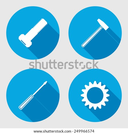 Screwdriver, hammer, wrench key icon, bolt nut. Repair fix tool symbol. Round circle flat icon with long shadow. Vector - stock vector