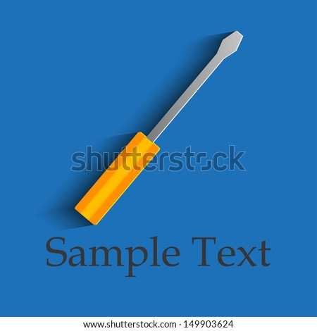 Screwdriver on a blue background - stock vector