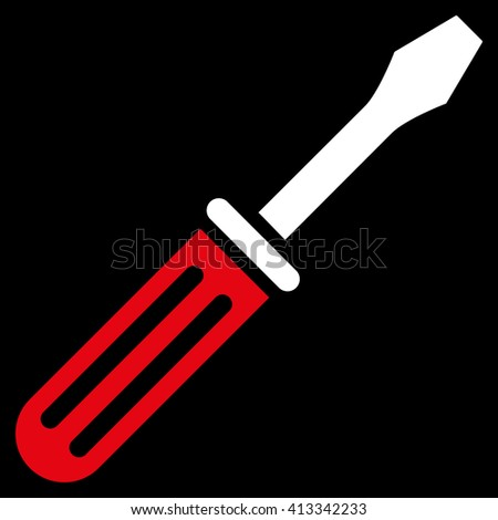 Screwdriver vector icon. Style is bicolor flat icon symbol, red and white colors, black background.