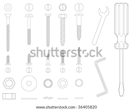 Screws and tools - stock vector