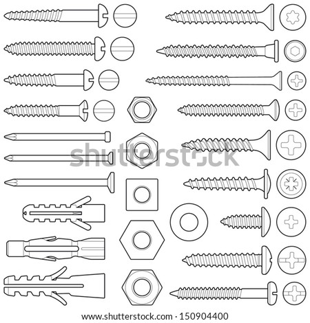 Screws / nuts / nails and wall plugs collection - vector illustration - stock vector
