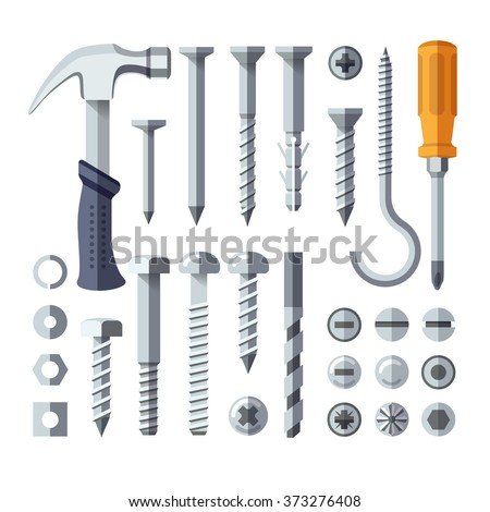 Screws, nuts, nails, rivets, screwdriver and hammer flat icons - stock vector