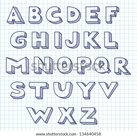 Scribble alphabet. Blue ink in a writing-book in a cage. Vector illustration. - stock vector
