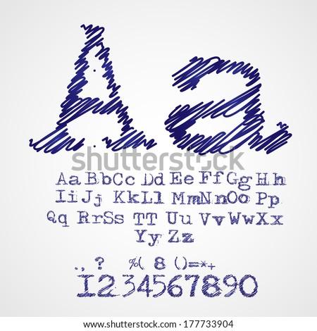 Scribble alphabet drawn with blue pen vector - stock vector