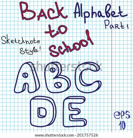 scribble alphabet hand drawing vector letters graph paper back to school theme