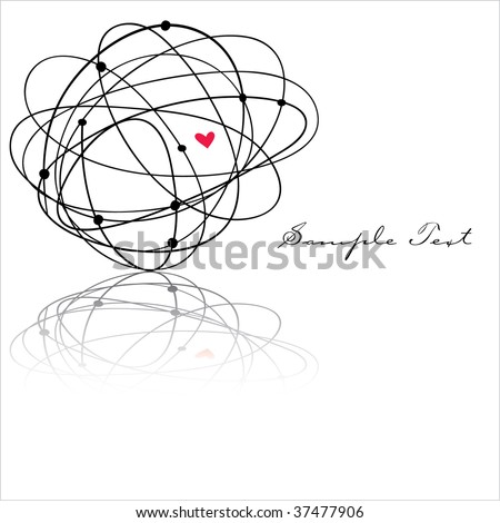 Scribble Ball heart with area for text - stock vector