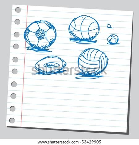 Scribble balls - stock vector