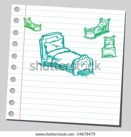 Scribble beds - stock vector