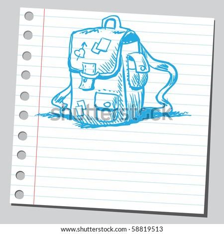 Scribble blue school bag - stock vector