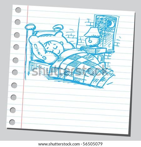 Scribble boy sleeping - stock vector