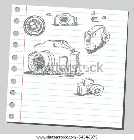 Scribble cameras - stock vector