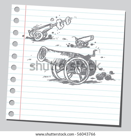 Scribble cannons - stock vector