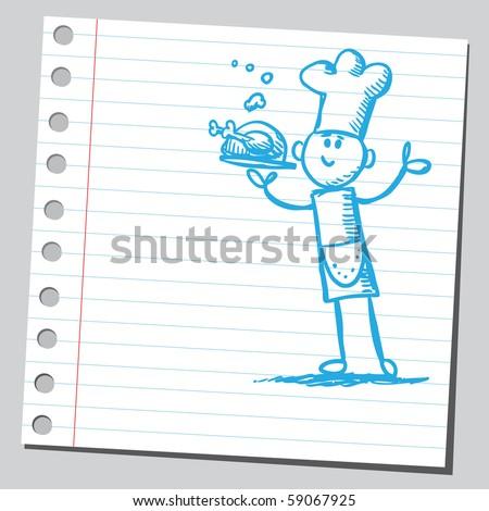 Scribble chef - stock vector