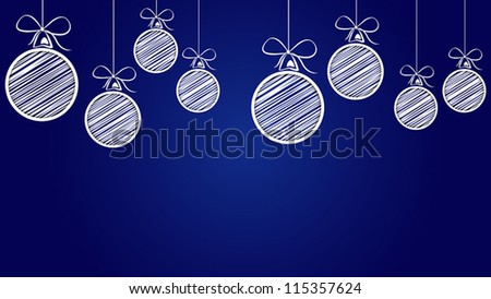 scribble christmas balls - stock vector