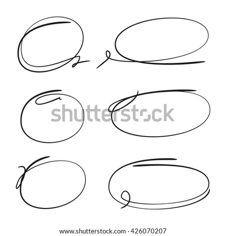 scribble circle set for highlighting text, grunge circles